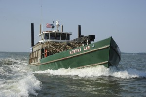 "ORP's ""Robert Lee"" Planting Vessel Drops Spat-on-Shell into the Chesapeake Bay."