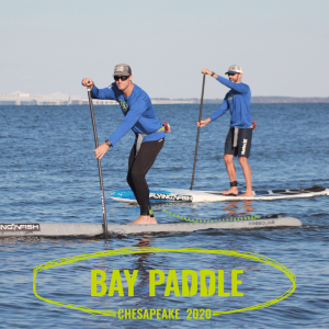 Two men SUPing in Chesapeake Bay. Bay Paddle logo.