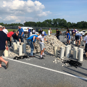 Oyster shell bagging volunteer event