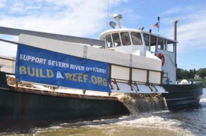 Oysters and water run through the side of the Build a Reef planting vessel on Friday, August 20, 2021